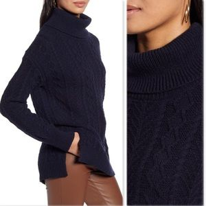 Halogen oversized cable knit turtleneck sweater